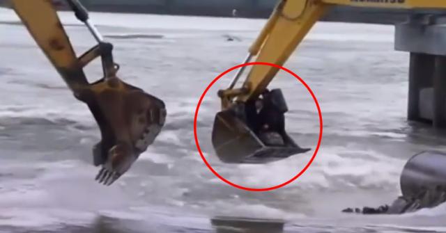 Bagger befördert Menschen über den Fluß